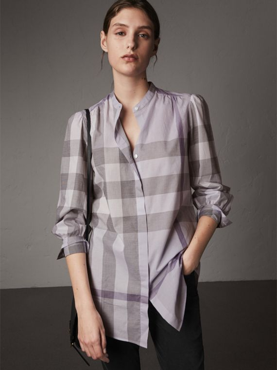 Grandad Collar Check Cotton Tunic Shirt
