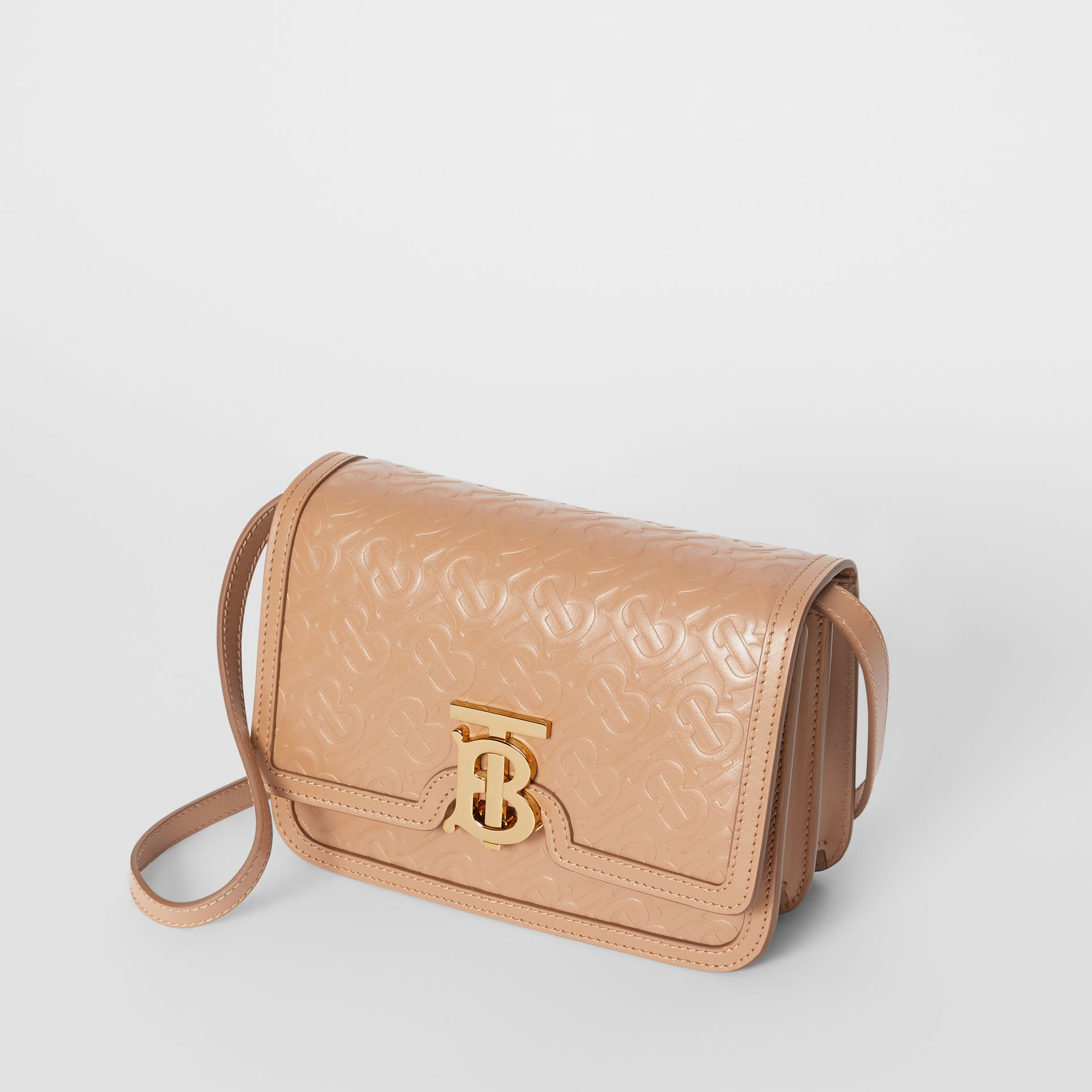 Small Monogram Leather TB Bag in Light Camel - Women | Burberry United Kingdom - gallery image 3