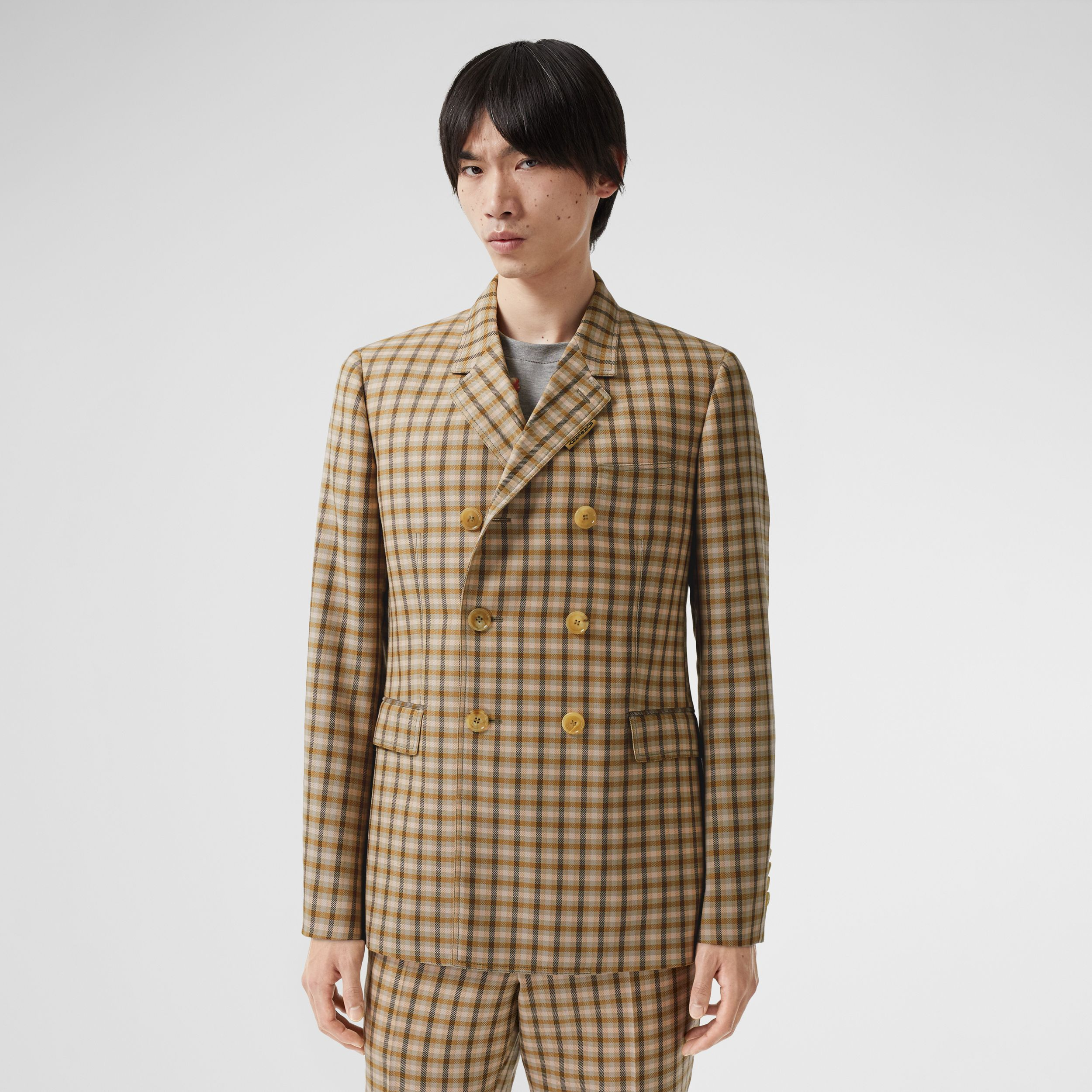 Slim Fit Gingham Wool Tailored Jacket in Soft Fawn - Men | Burberry - 1