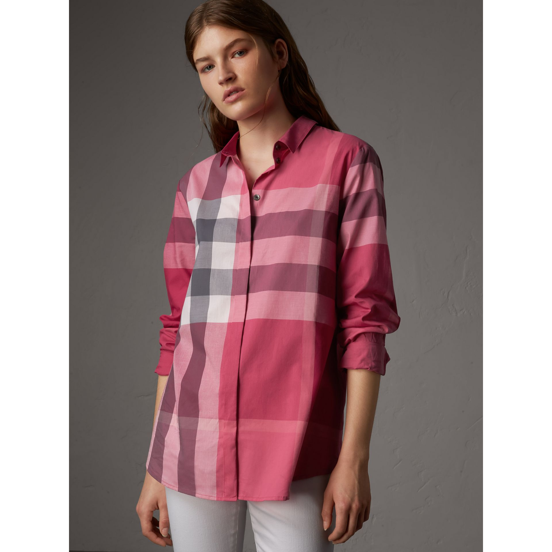 Check Cotton Shirt in Crimson Pink - Women | Burberry - gallery image 1