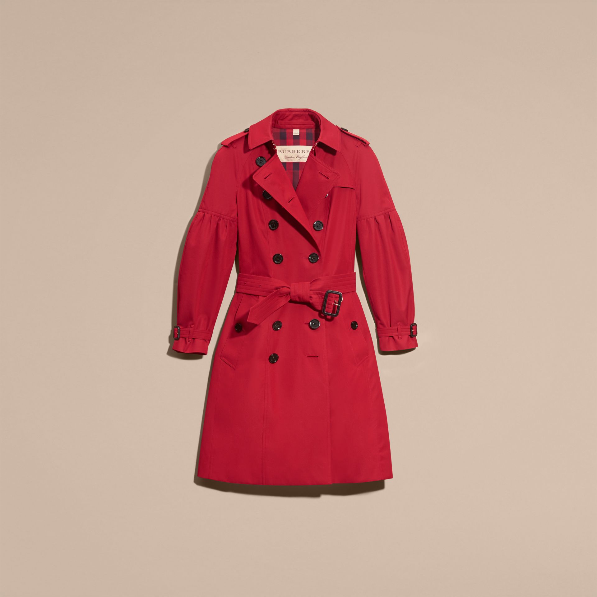 Parade red Cotton Gabardine Trench Coat with Puff Sleeves Parade Red - gallery image 4