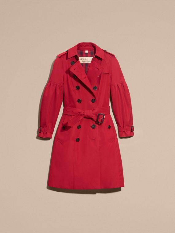 Parade red Cotton Gabardine Trench Coat with Puff Sleeves Parade Red - cell image 3