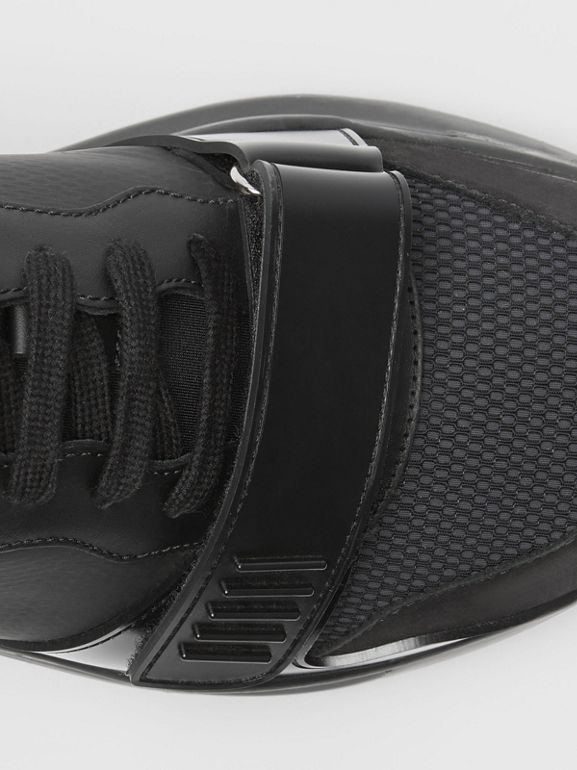Mesh Detail Suede and Neoprene Sneakers in Black - Men | Burberry United Kingdom - cell image 1