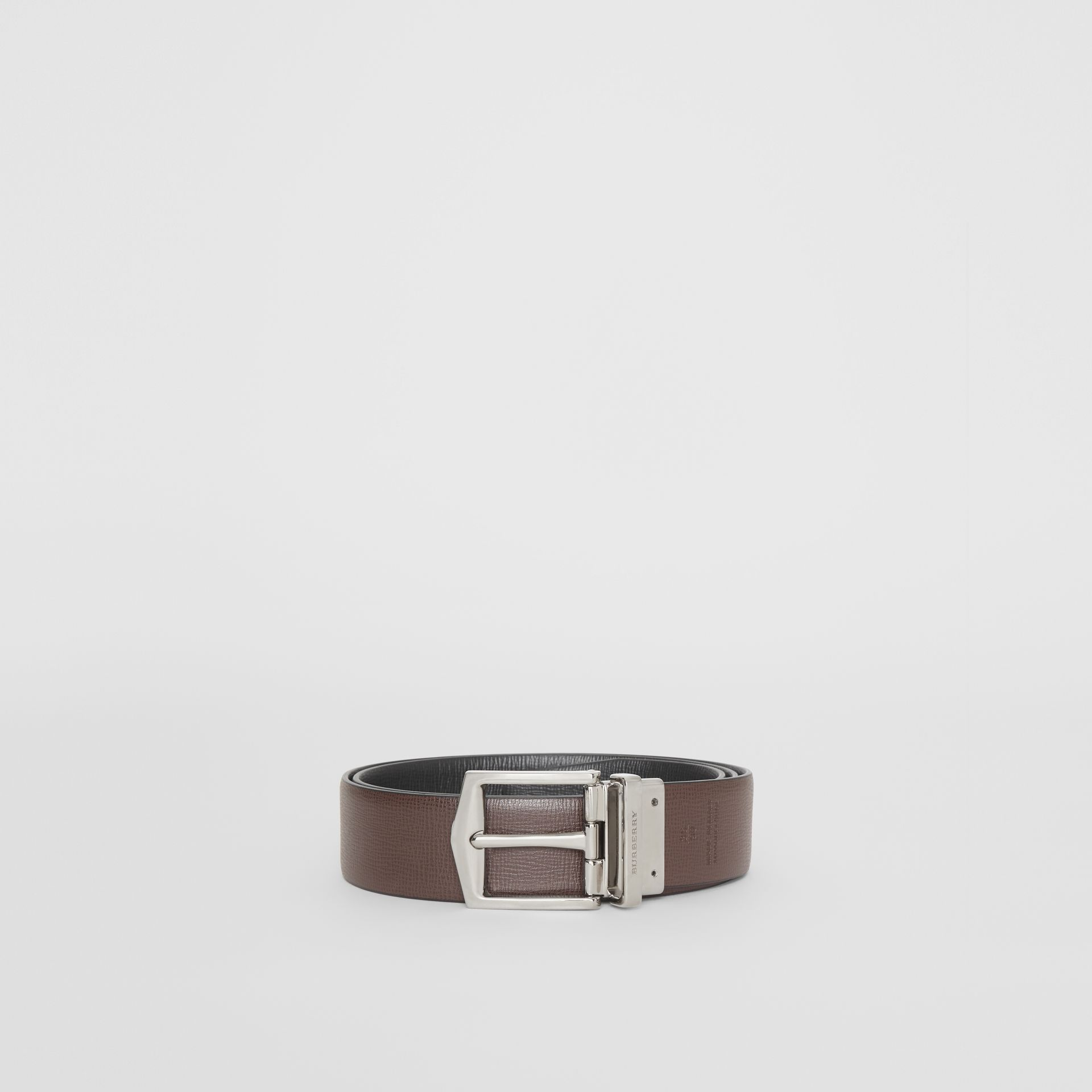 Reversible London Leather Belt in Black/chocolate - Men | Burberry - gallery image 7