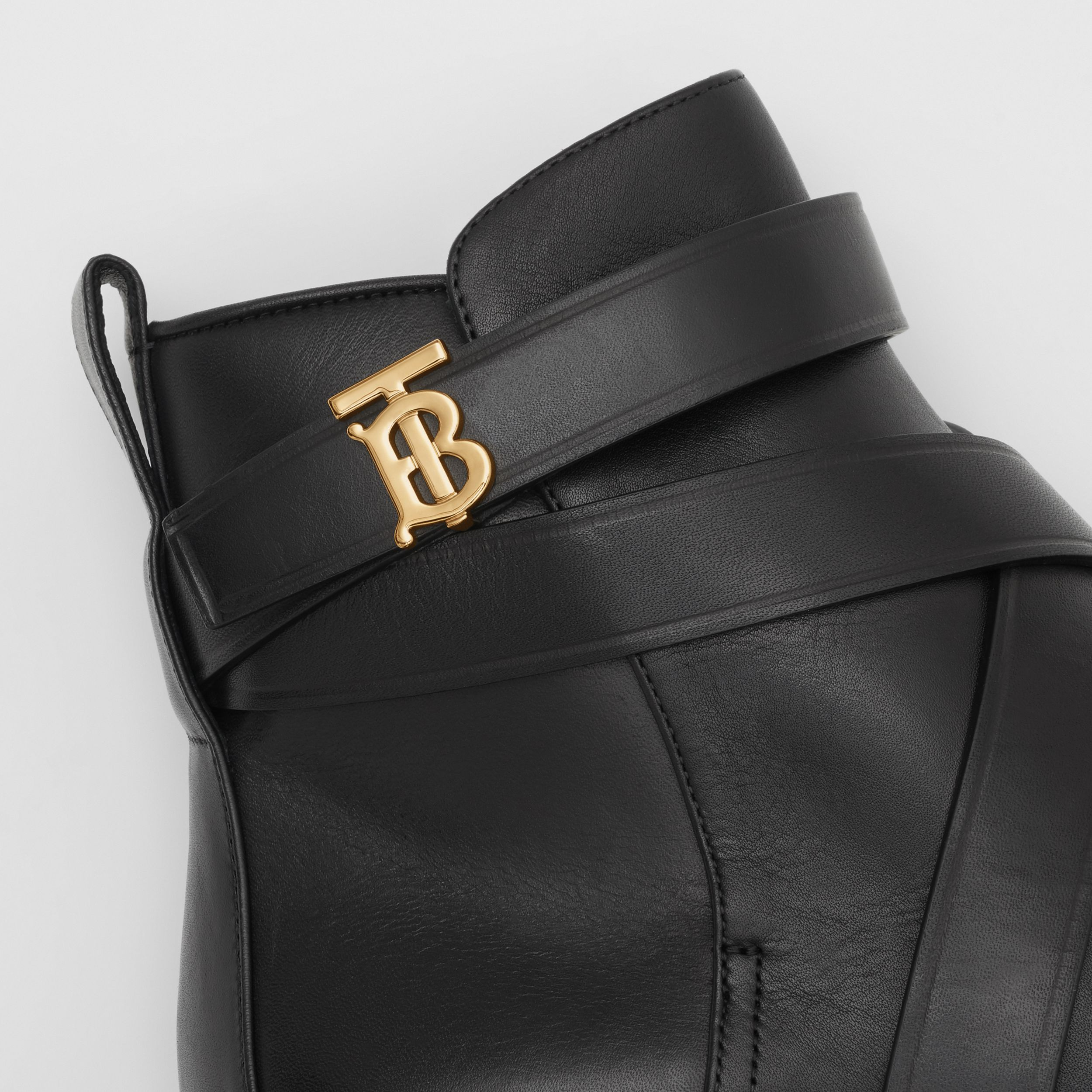 Monogram Motif Leather Ankle Boots in Black - Women | Burberry - 2