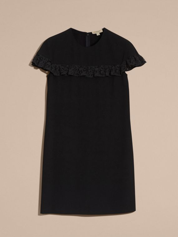Black Shift Dress with Lace Ruffle - cell image 3