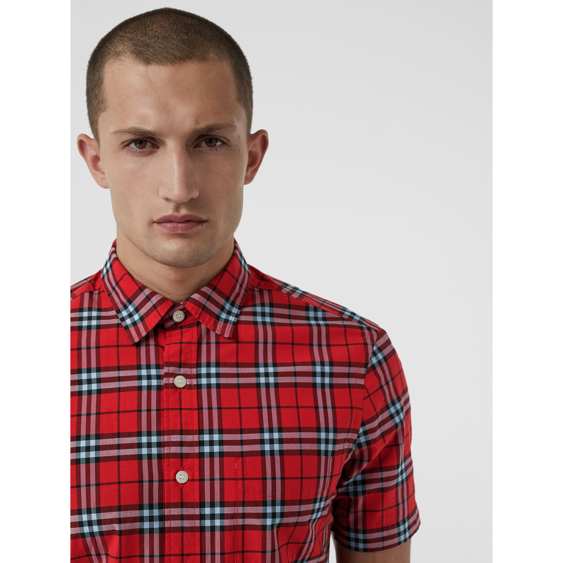 Short-sleeve Check Cotton Shirt in Bright Red | Burberry Australia - gallery image 1