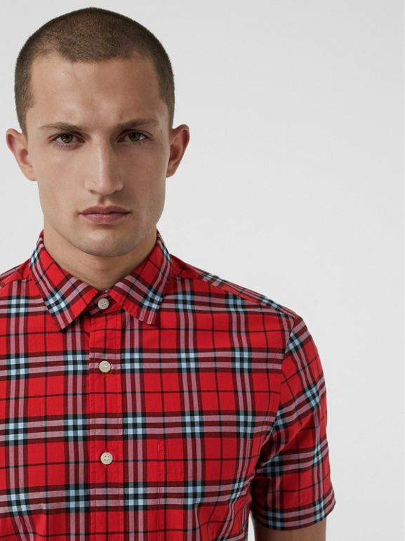 Short-sleeve Check Cotton Shirt in Bright Red | Burberry - cell image 1