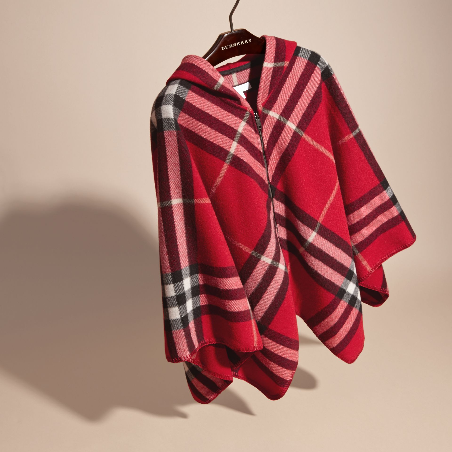 Parade red Check Wool Cashmere Hooded Poncho - gallery image 3