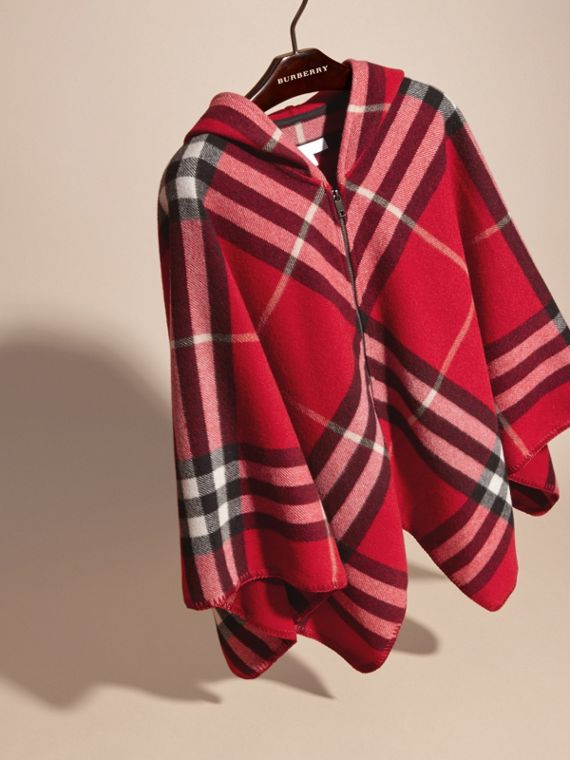 Parade red Check Wool Cashmere Hooded Poncho - cell image 2