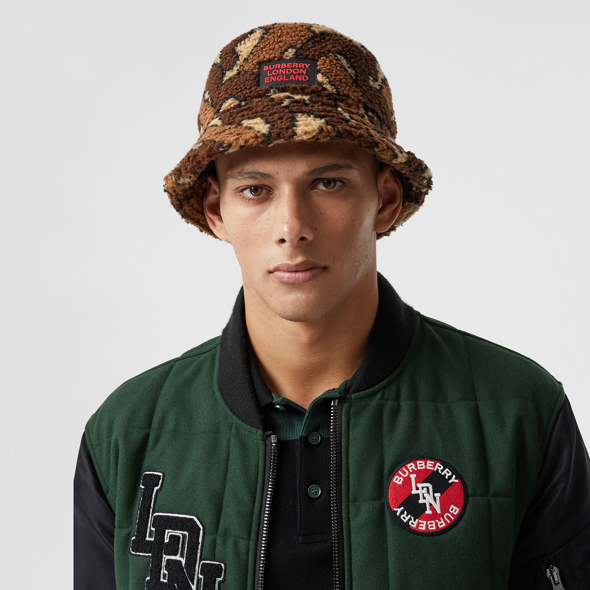 Monogram Fleece Bucket Hat in Bridle Brown | Burberry - gallery image 2