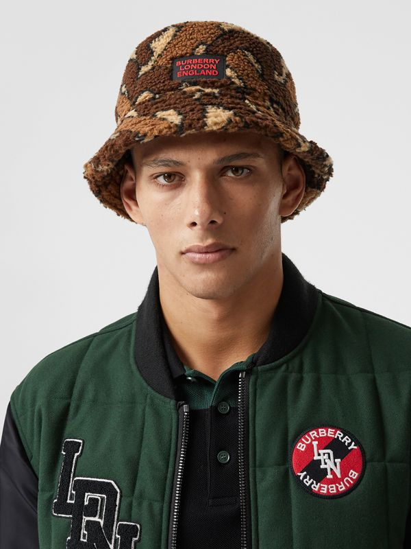 Monogram Fleece Bucket Hat in Bridle Brown | Burberry - cell image 2
