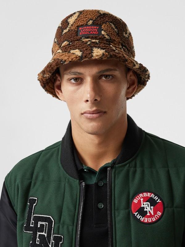 Monogram Fleece Bucket Hat in Bridle Brown | Burberry Canada - cell image 2