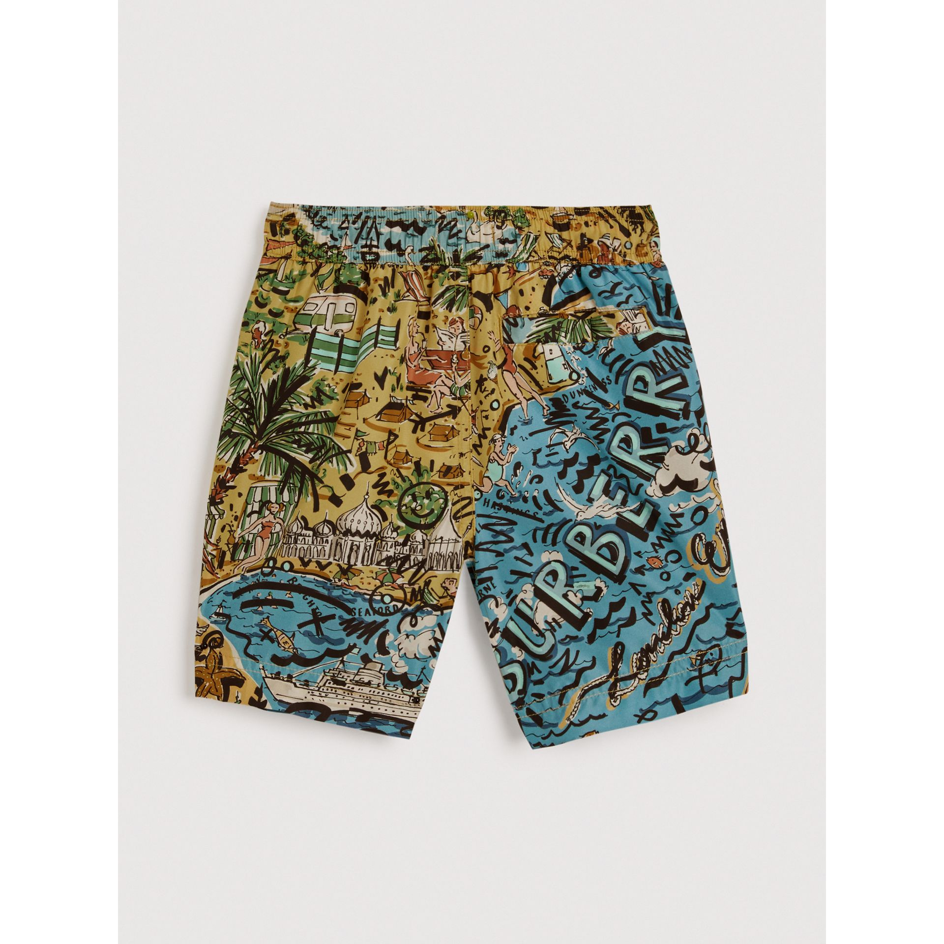 Seaside Print Swim Shorts in Sand - Boy | Burberry United Kingdom - gallery image 3