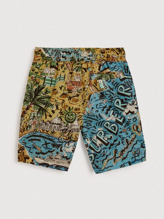 Seaside Print Swim Shorts in Sand - Boy | Burberry United Kingdom - cell image 3