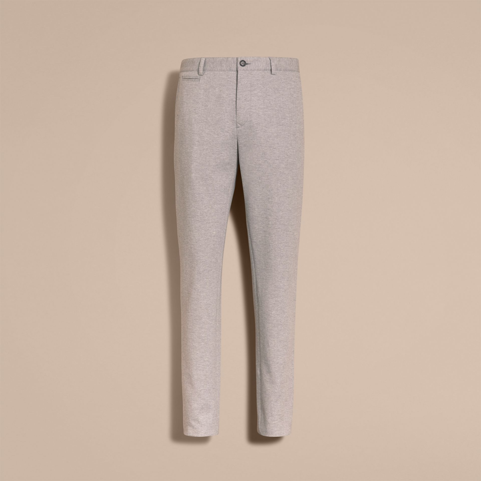 Slim Fit Herringbone Cotton Blend Jersey Trousers - gallery image 4