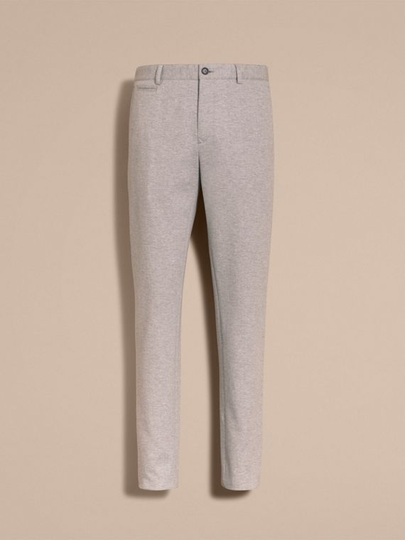 Slim Fit Herringbone Cotton Blend Jersey Trousers - cell image 3