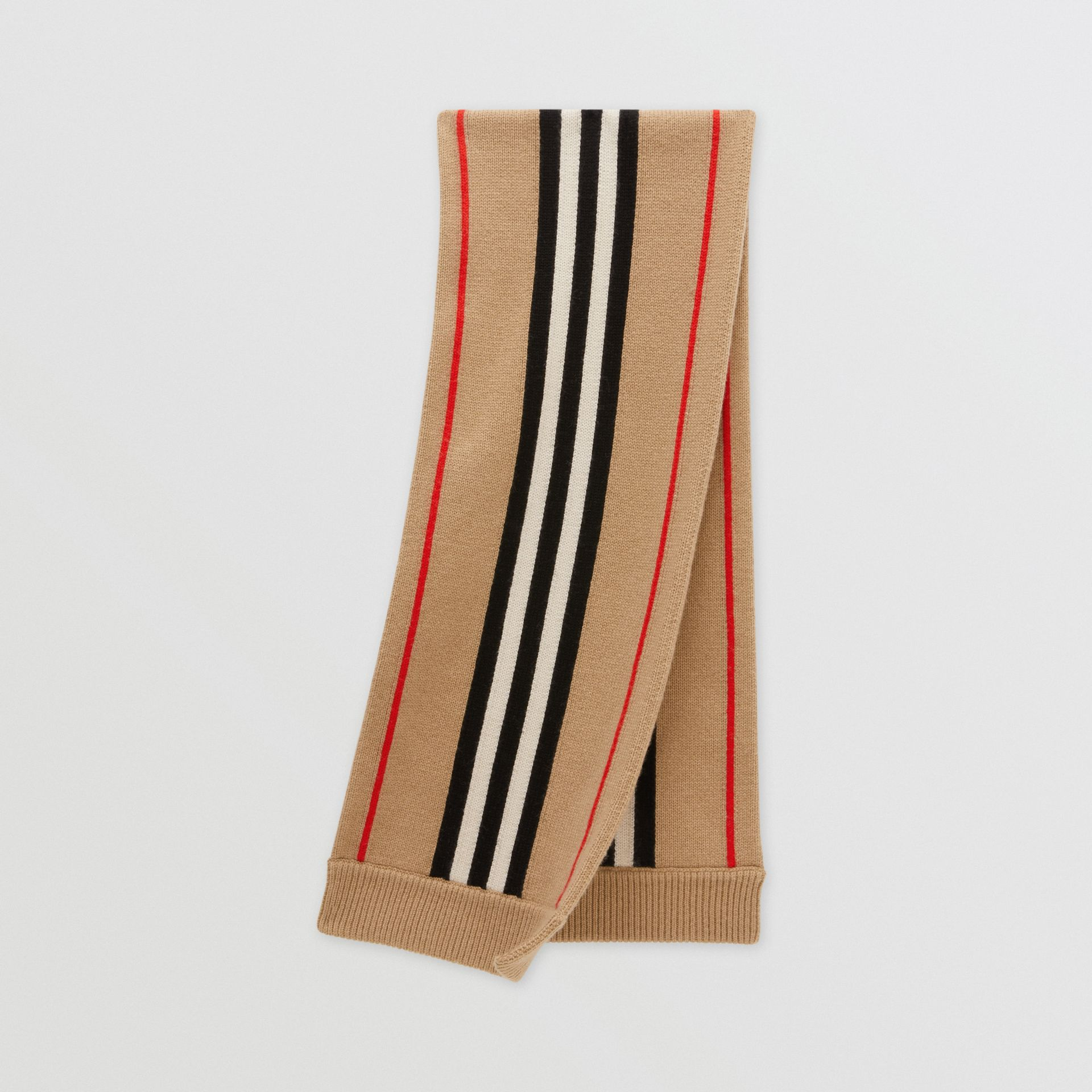 Icon Stripe Cashmere Wool Scarf in Archive Beige - Children | Burberry Australia - gallery image 0