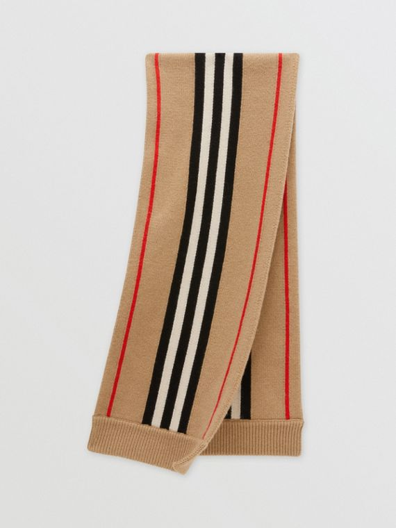 Icon Stripe Cashmere Wool Scarf in Archive Beige