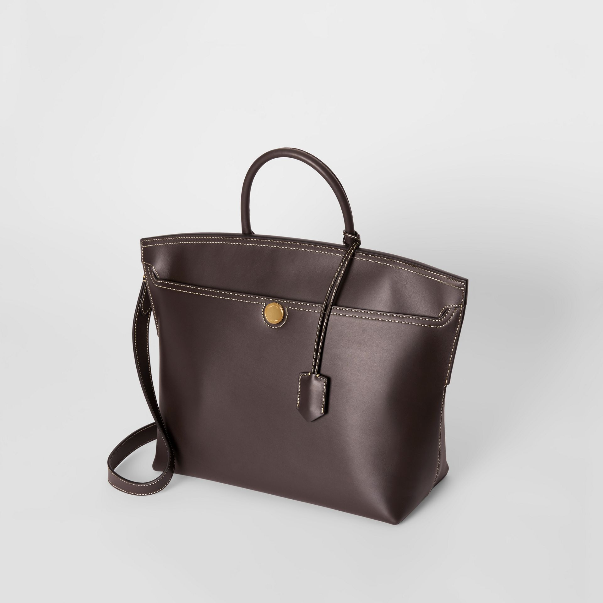 Leather Society Top Handle Bag in Coffee - Women | Burberry - gallery image 3
