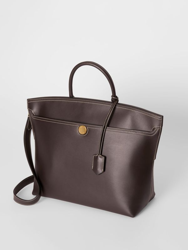 Leather Society Top Handle Bag in Coffee - Women | Burberry - cell image 3