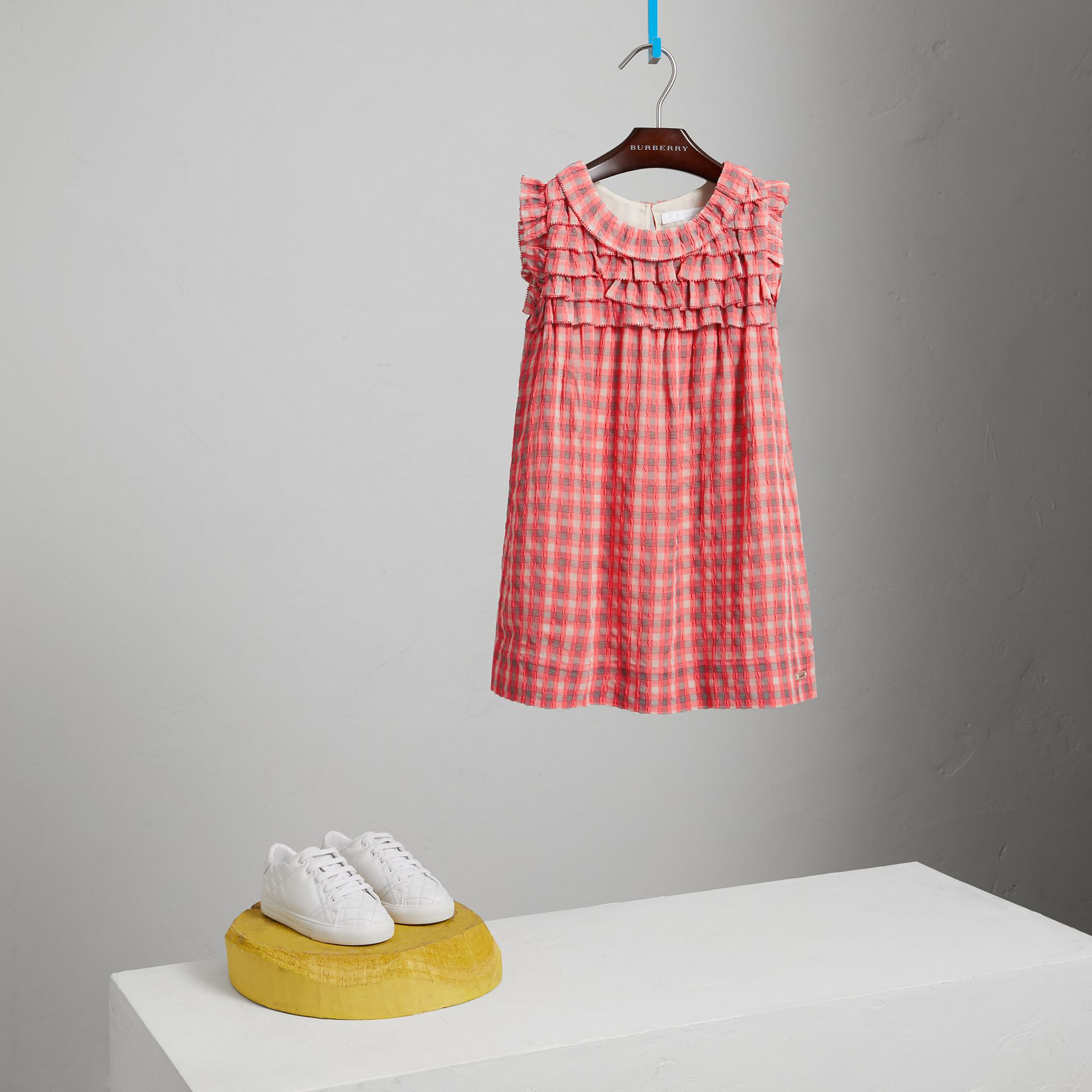 Sleeveless Check Seersucker Dress in Bright Coral Pink - Children | Burberry - gallery image 2