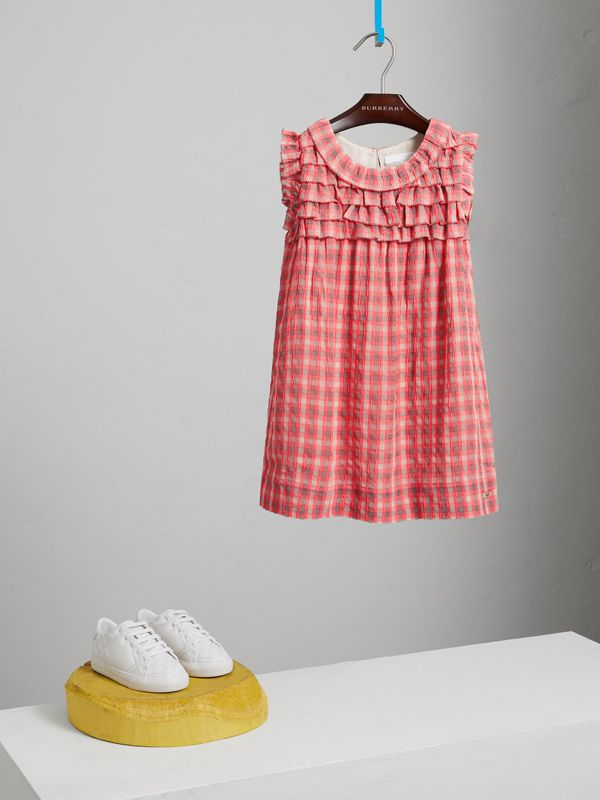 Sleeveless Check Seersucker Dress in Bright Coral Pink | Burberry - cell image 2
