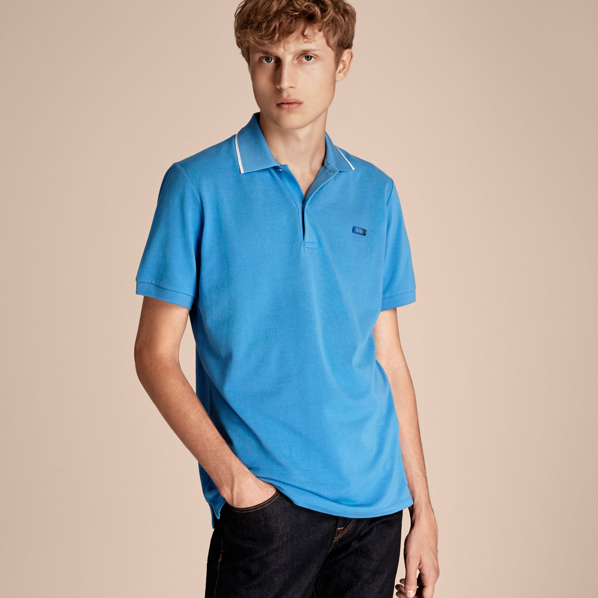 Tipped Collar Cotton Piqué Polo Shirt Chalk Blue - gallery image 6