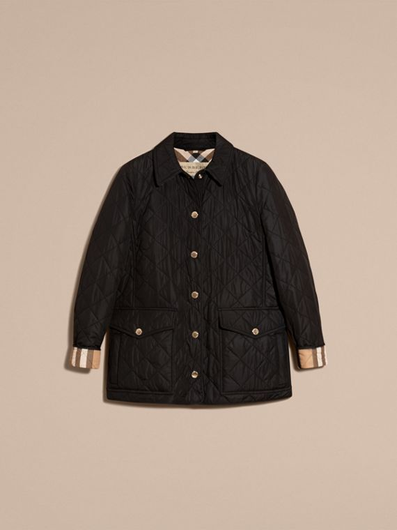 Check Detail Diamond Quilted Jacket Black - cell image 3