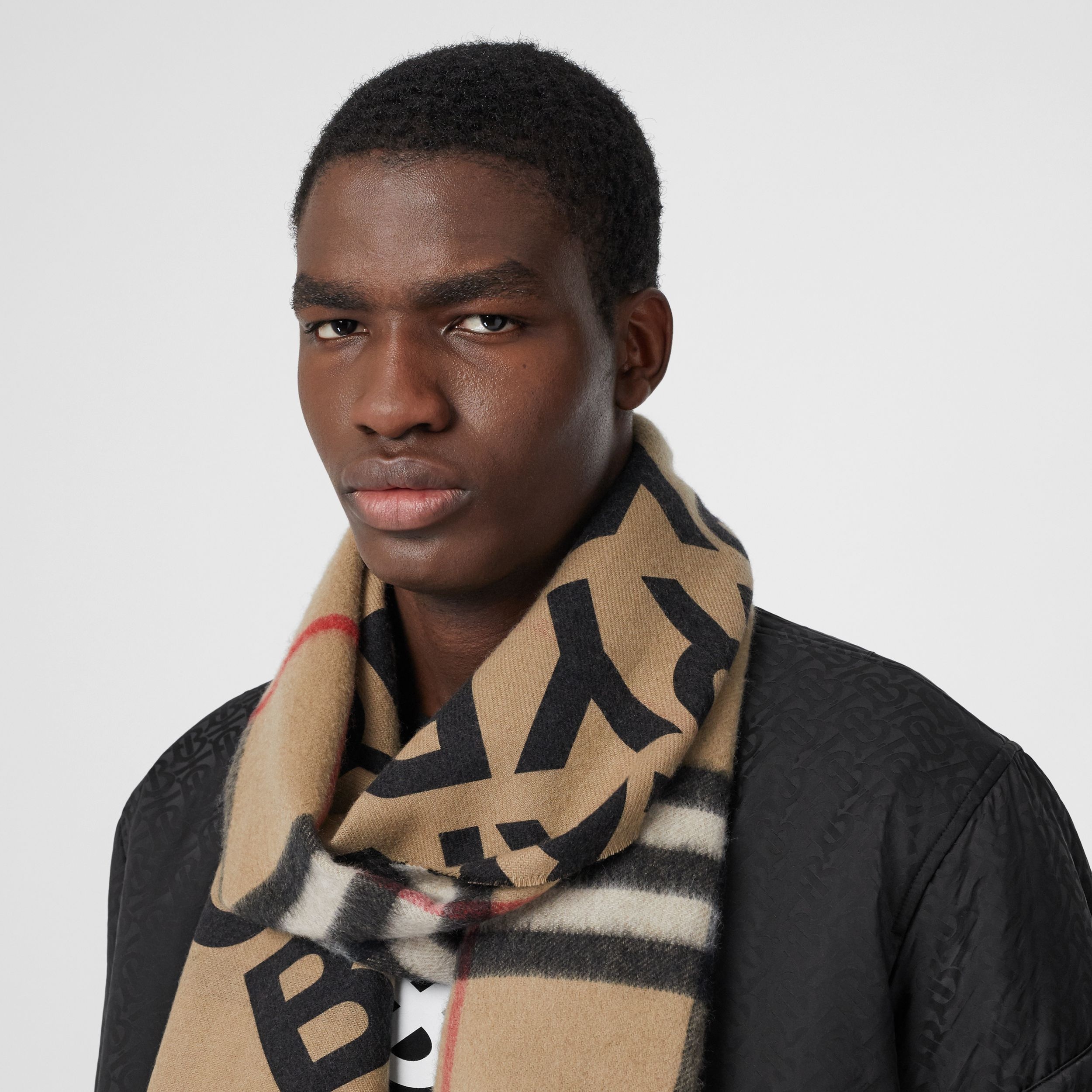 Logo Print Check Cashmere Scarf in Black | Burberry - 4