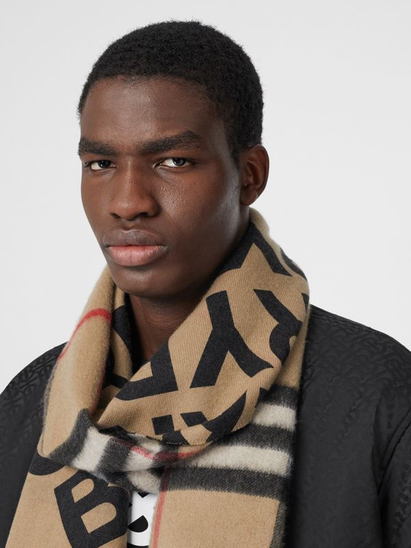 Logo Print Check Cashmere Scarf in Black | Burberry United States - cell image 3
