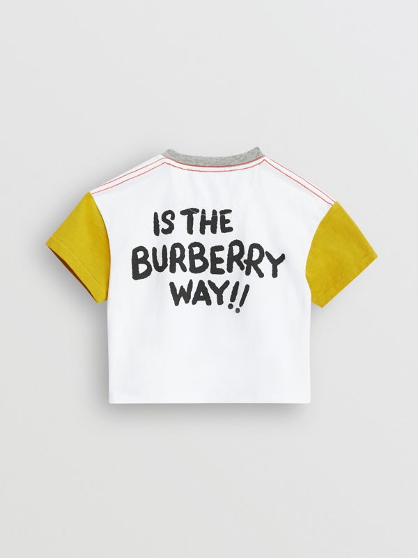 Cartoon Print Cotton T-shirt in Natural White - Children | Burberry - cell image 3