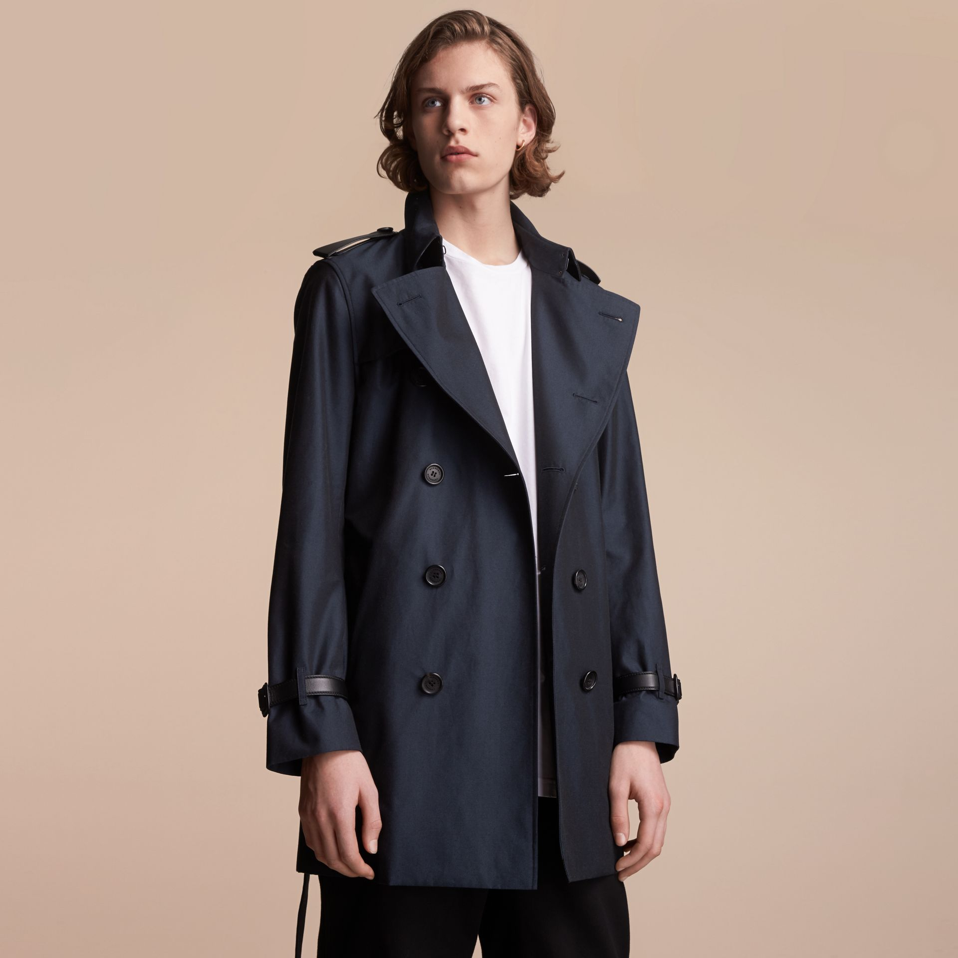 Leather Detail Cotton Gabardine Trench Coat - gallery image 7