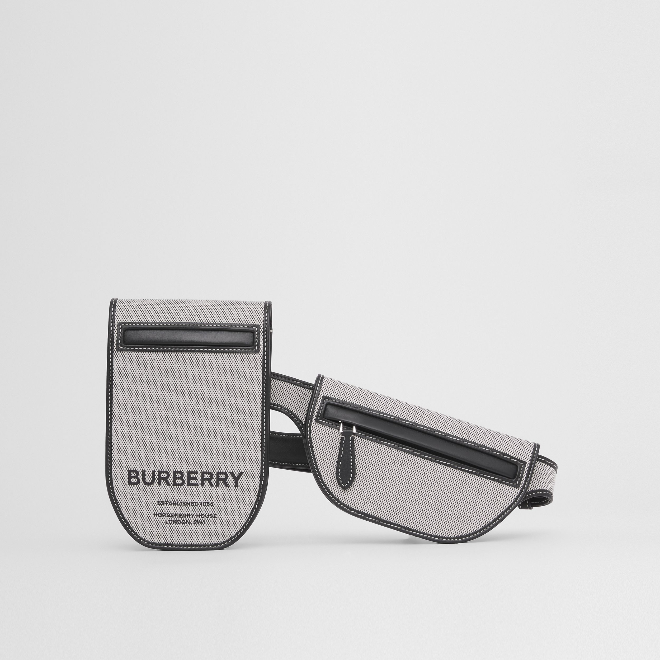 Horseferry Print Canvas and Leather Olympia Belt Bag in Black/white - Women | Burberry United Kingdom - 1
