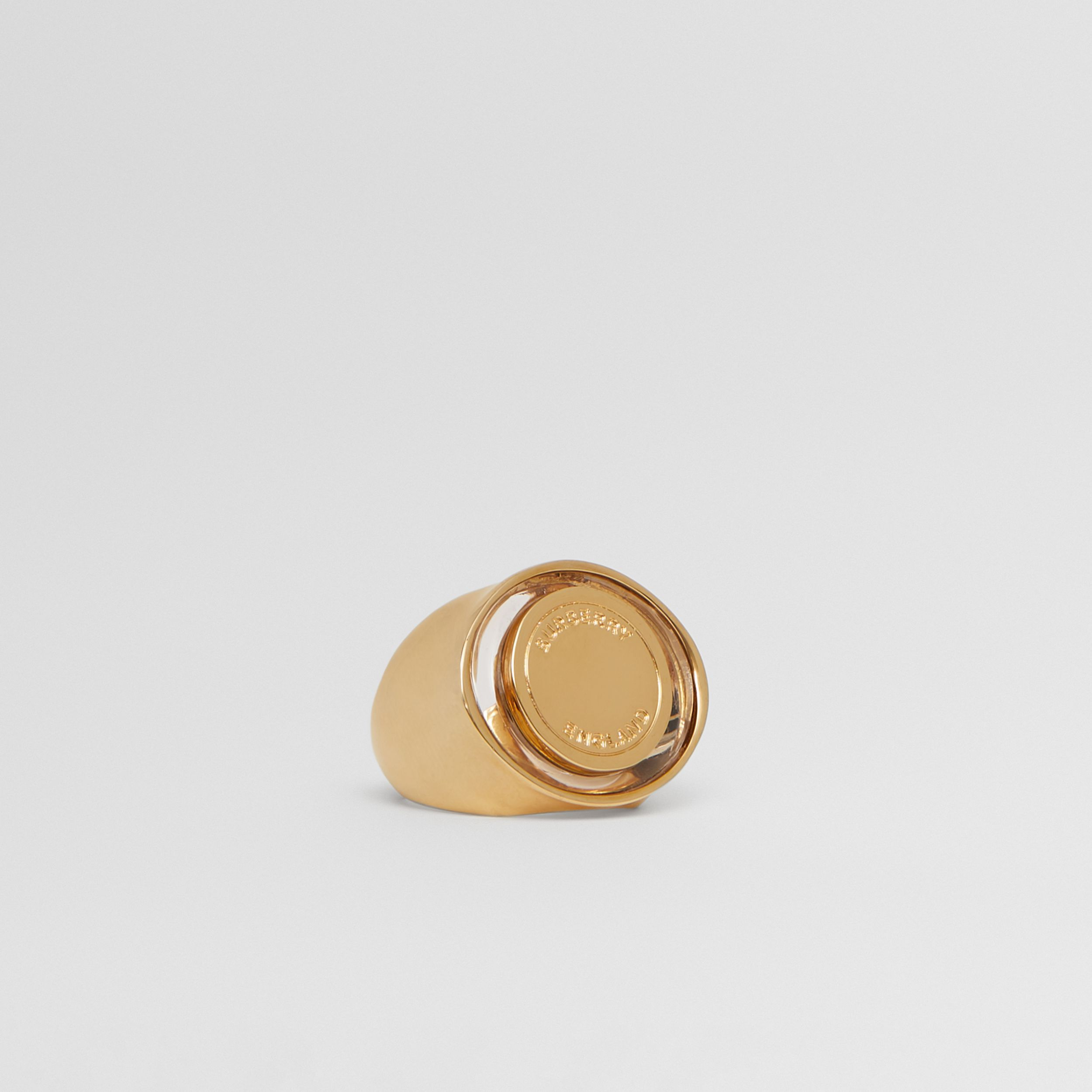 Resin and Gold-plated Signet Ring in Light - Women | Burberry - 3