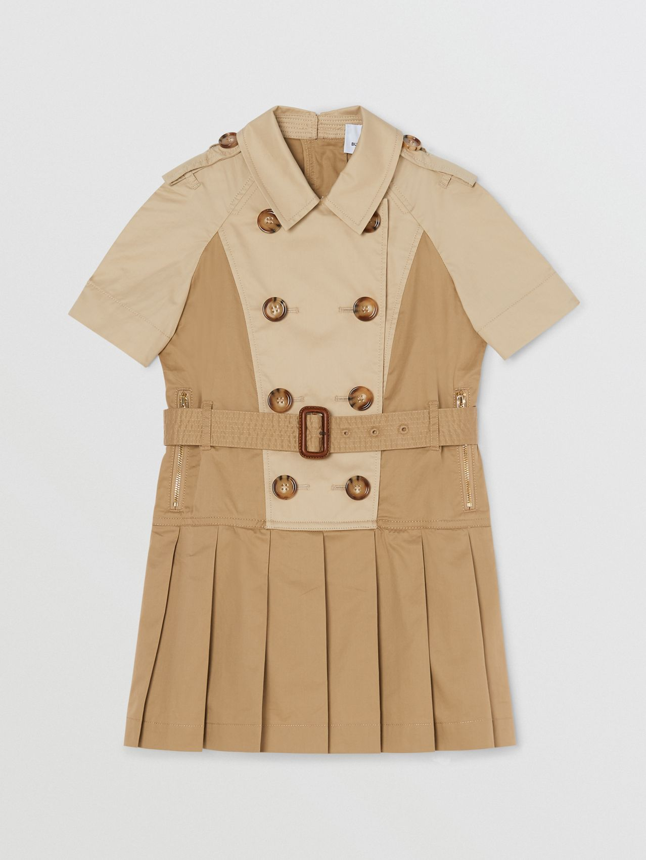 Two-tone Stretch Cotton Belted Trench Dress (Honey)