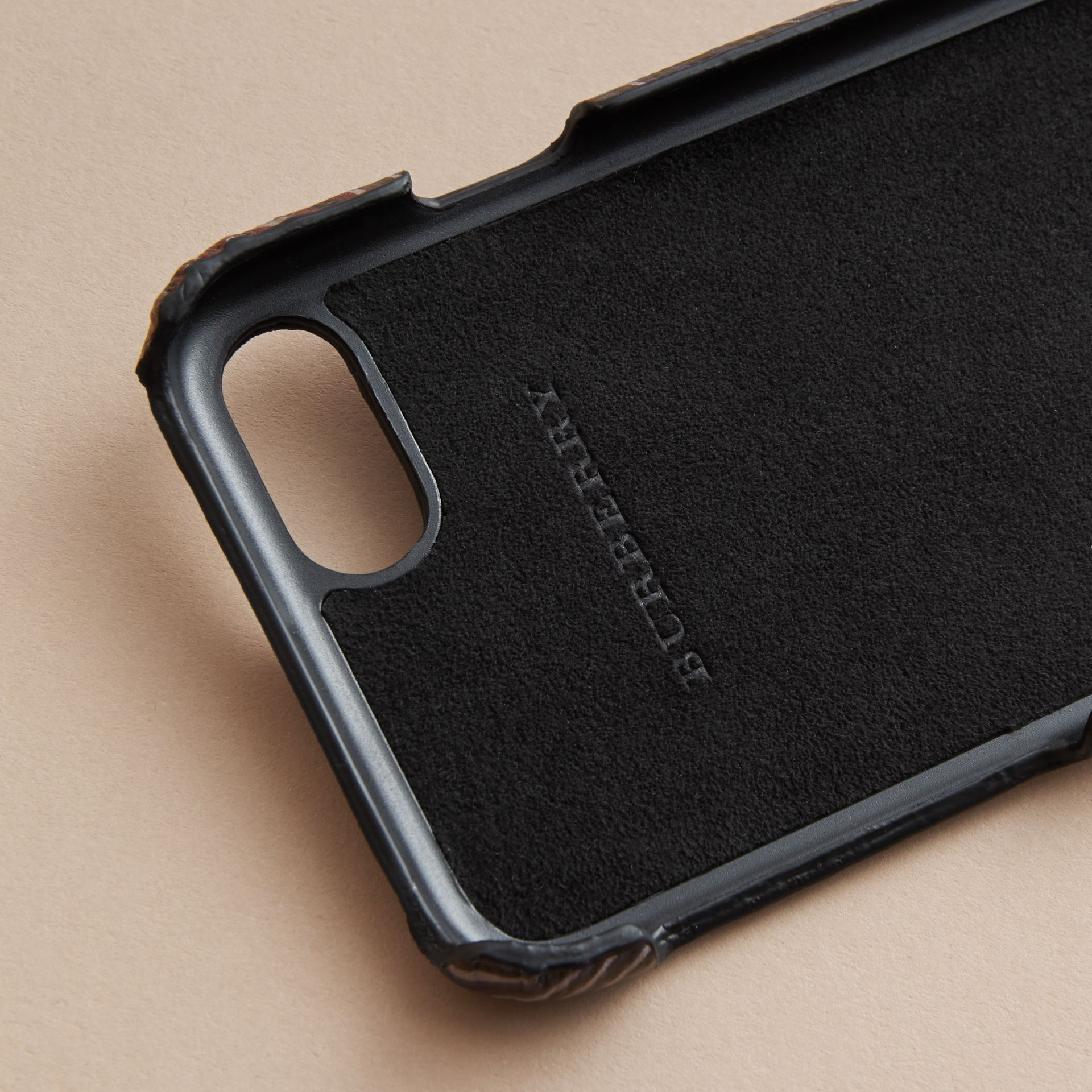 Beasts Print London Leather iPhone 7 Case in Navy Grey - Men | Burberry - gallery image 3