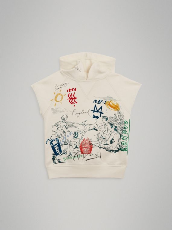 Adventure Print Cotton Sleeveless Hoodie in Chalk White - Boy | Burberry United Kingdom - cell image 2