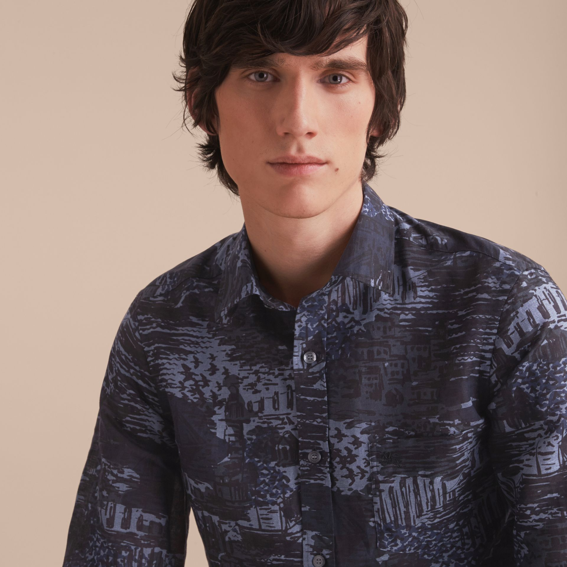 British Seaside Print Linen Cotton Shirt - gallery image 5