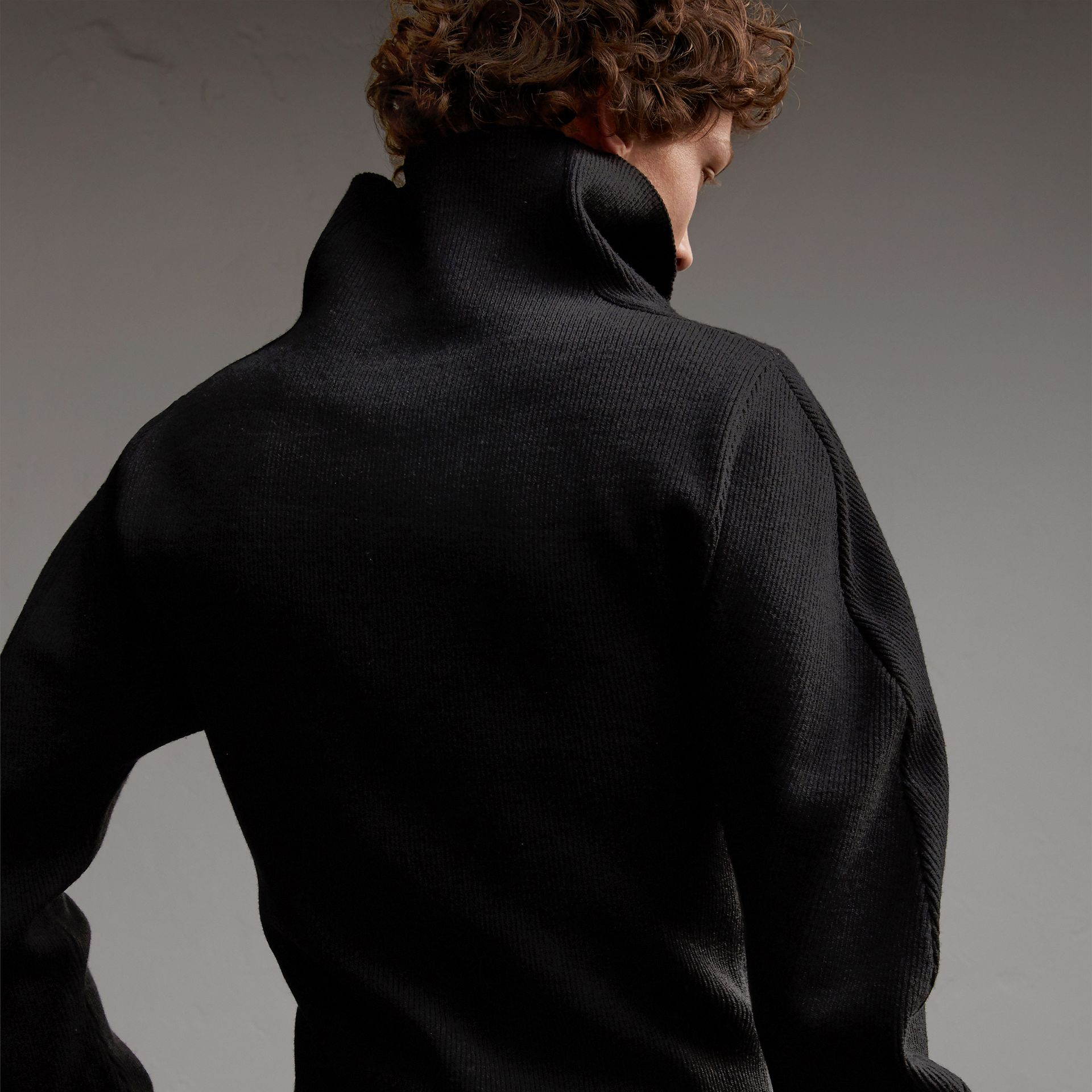 Rib Knit Compact Wool Blend Sculptural Sweater in Black - Men | Burberry - gallery image 5