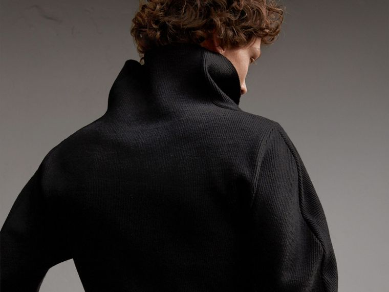 Rib Knit Compact Wool Blend Sculptural Sweater in Black - Men | Burberry - cell image 4