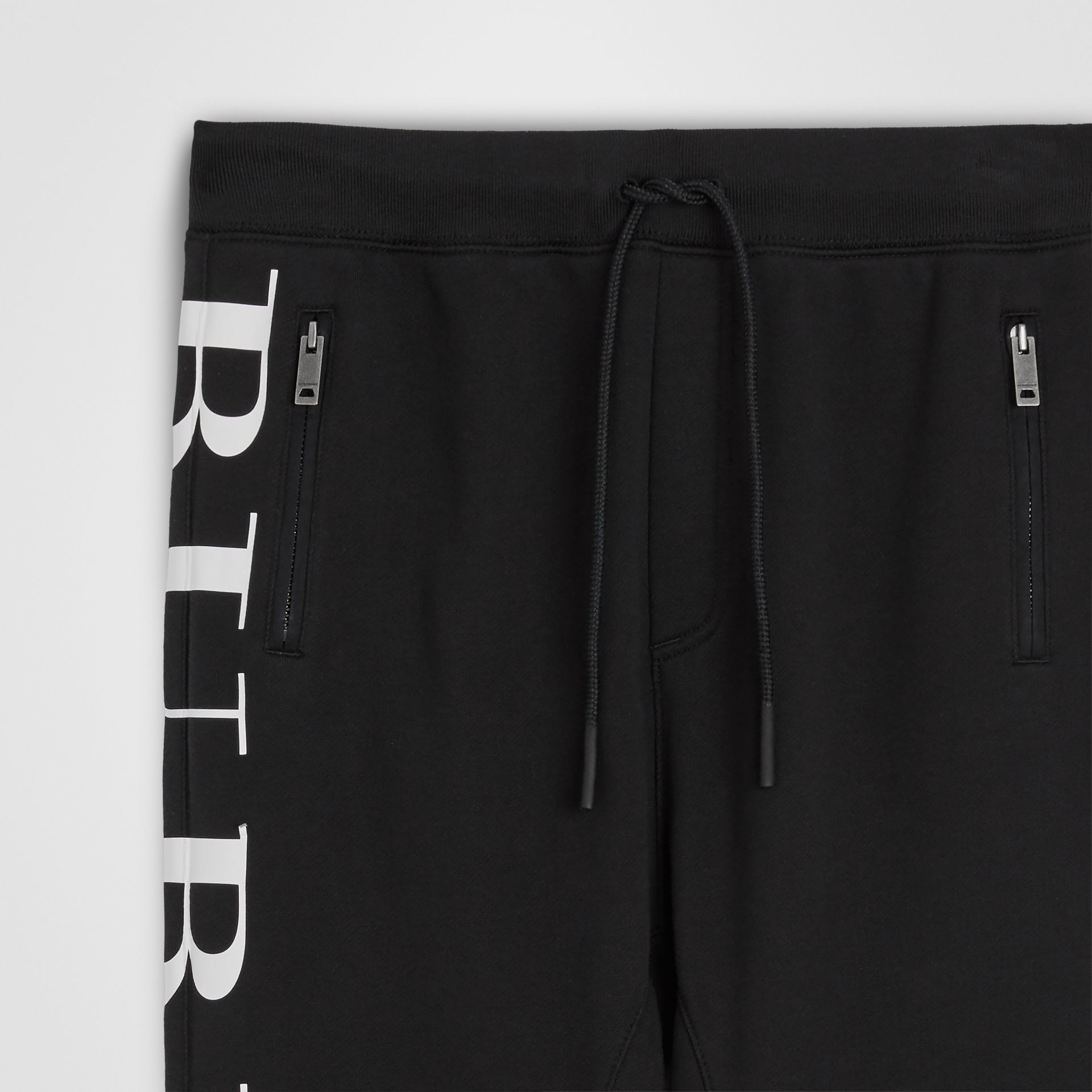 Logo Print Cotton Trackpants in Black | Burberry - gallery image 4