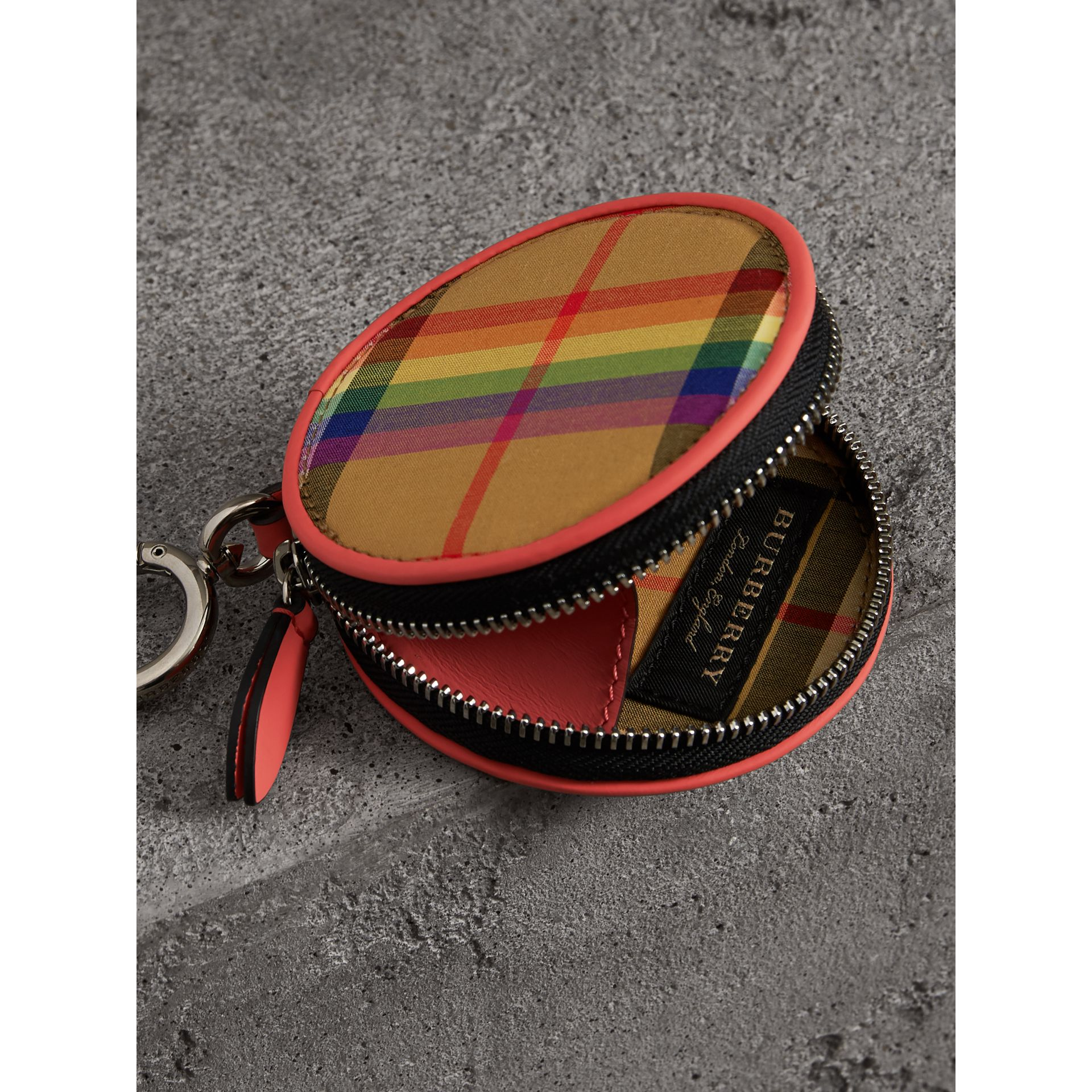 Rainbow Vintage Check Coin Case in Bright Peony | Burberry Australia - gallery image 3