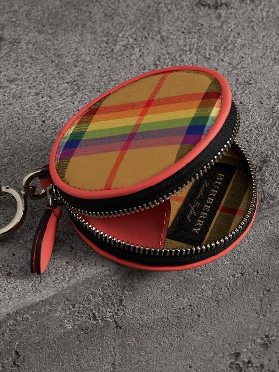 Rainbow Vintage Check Coin Case in Bright Peony | Burberry - cell image 3
