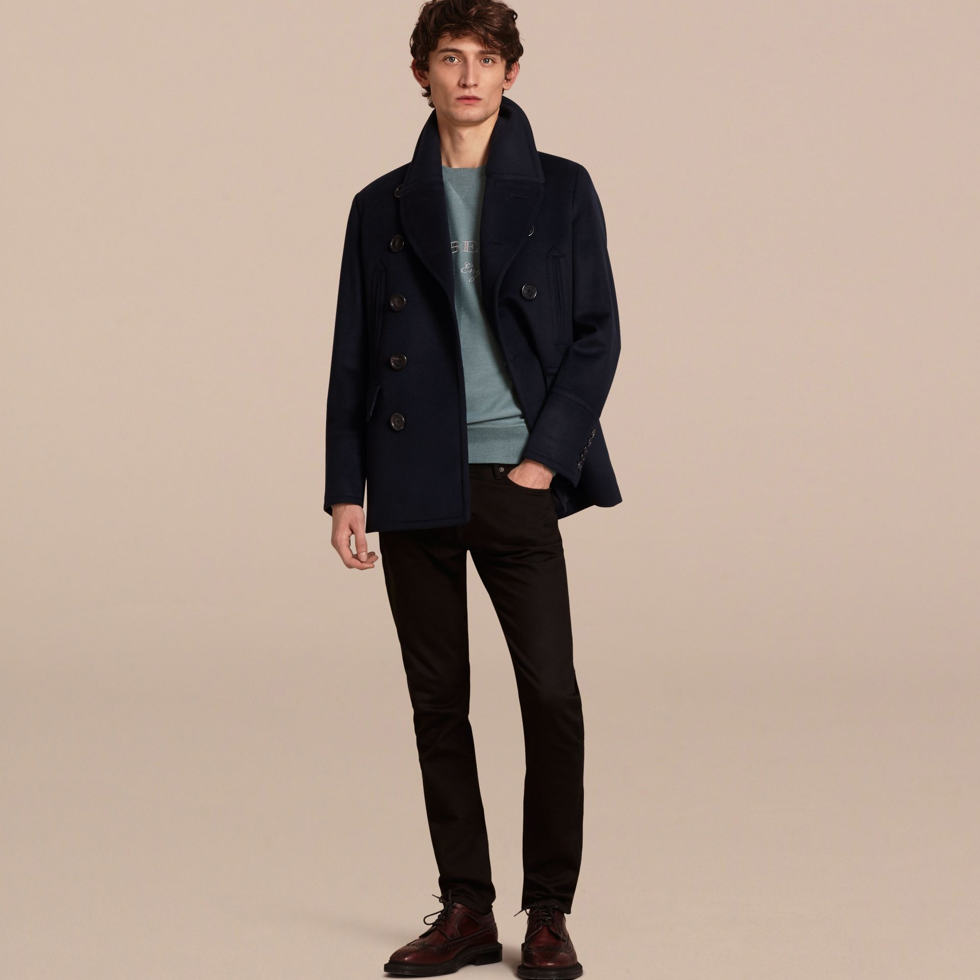 Wool Cashmere Pea Coat Navy - gallery image 1