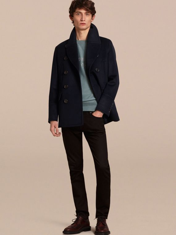 Wool Cashmere Pea Coat in Navy