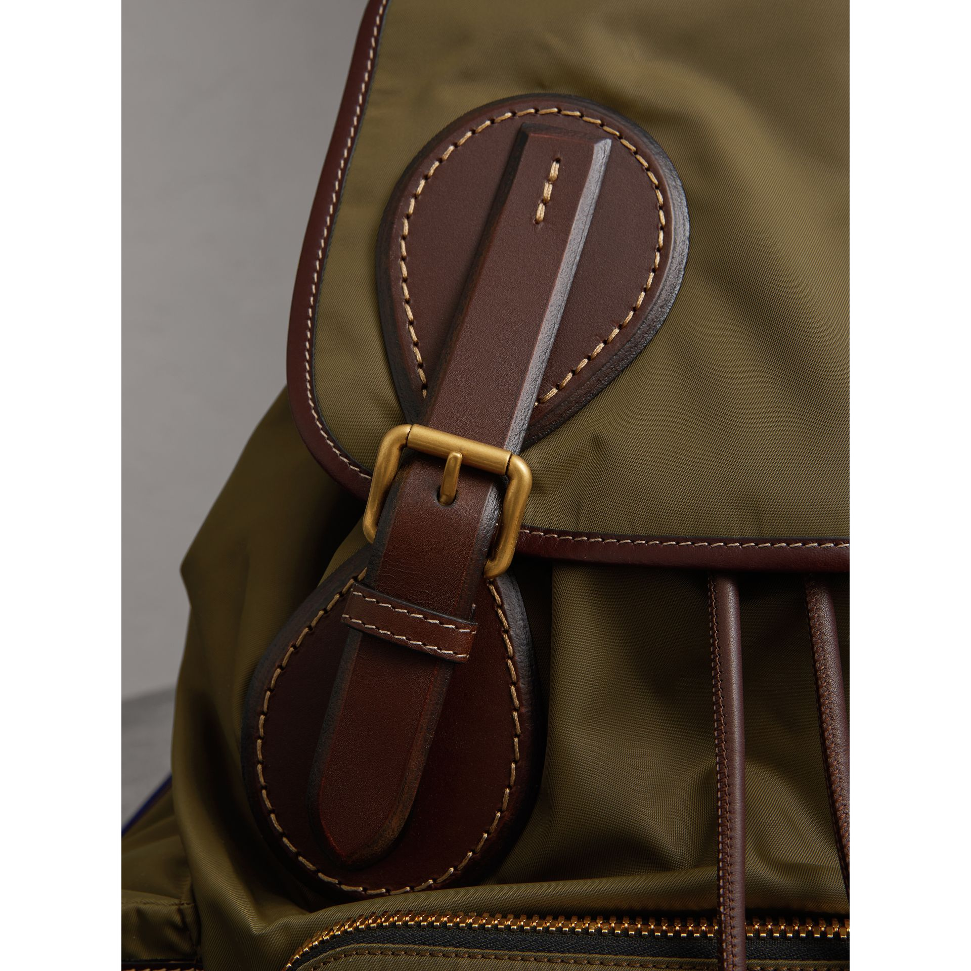 The Large Rucksack in Technical Nylon and Topstitched Leather in Dark Antique Green | Burberry - gallery image 1