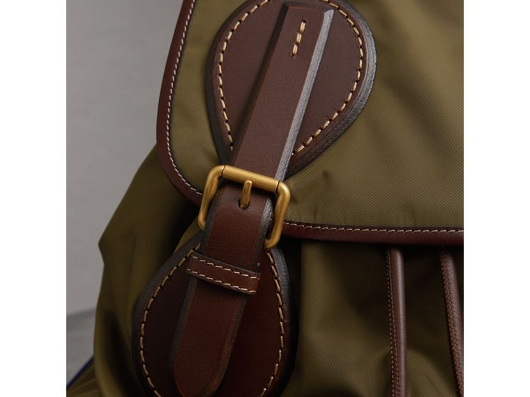 The Large Rucksack in Technical Nylon and Topstitched Leather in Dark Antique Green | Burberry - cell image 1