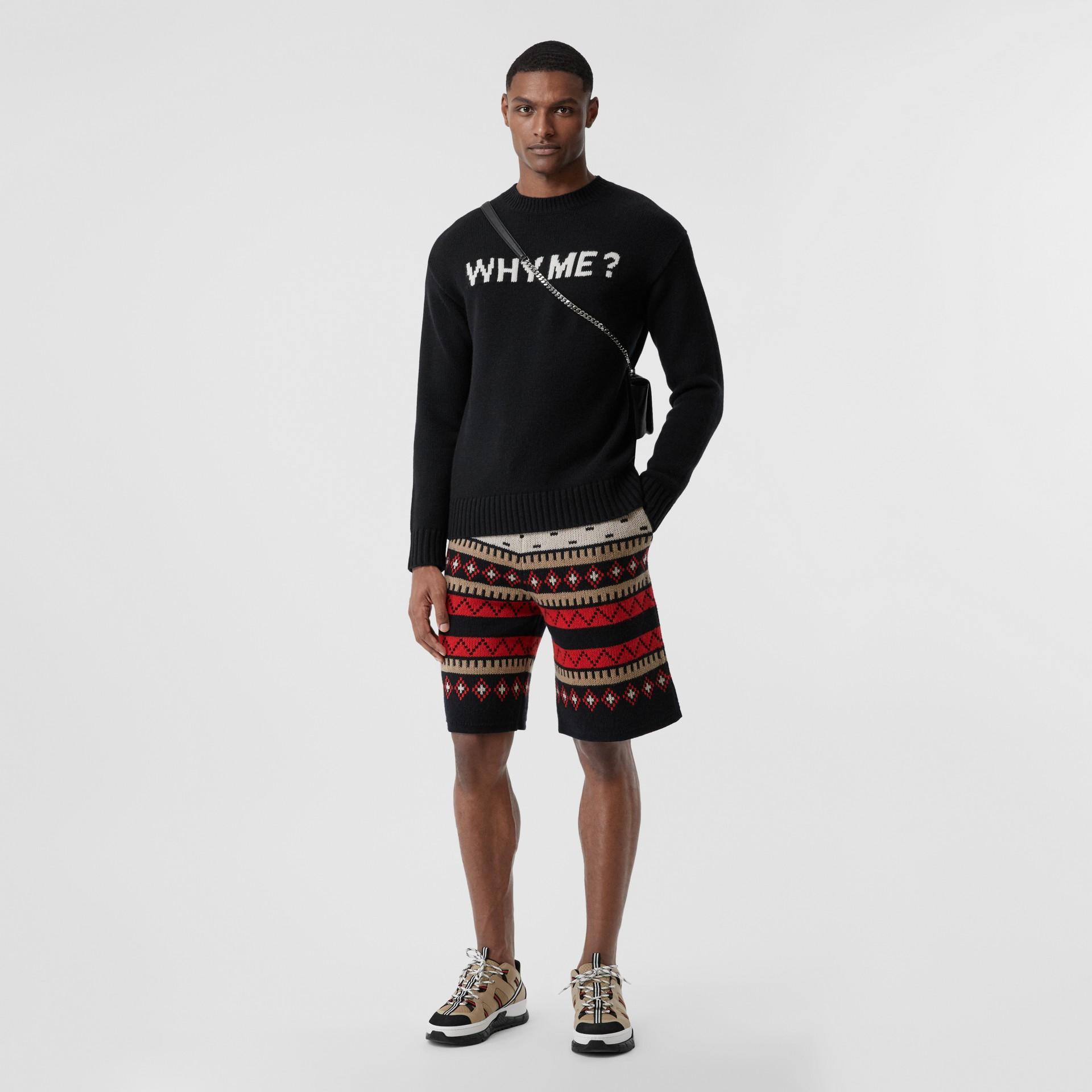 Slogan Intarsia Cashmere Sweater in Black - Men | Burberry - gallery image 4
