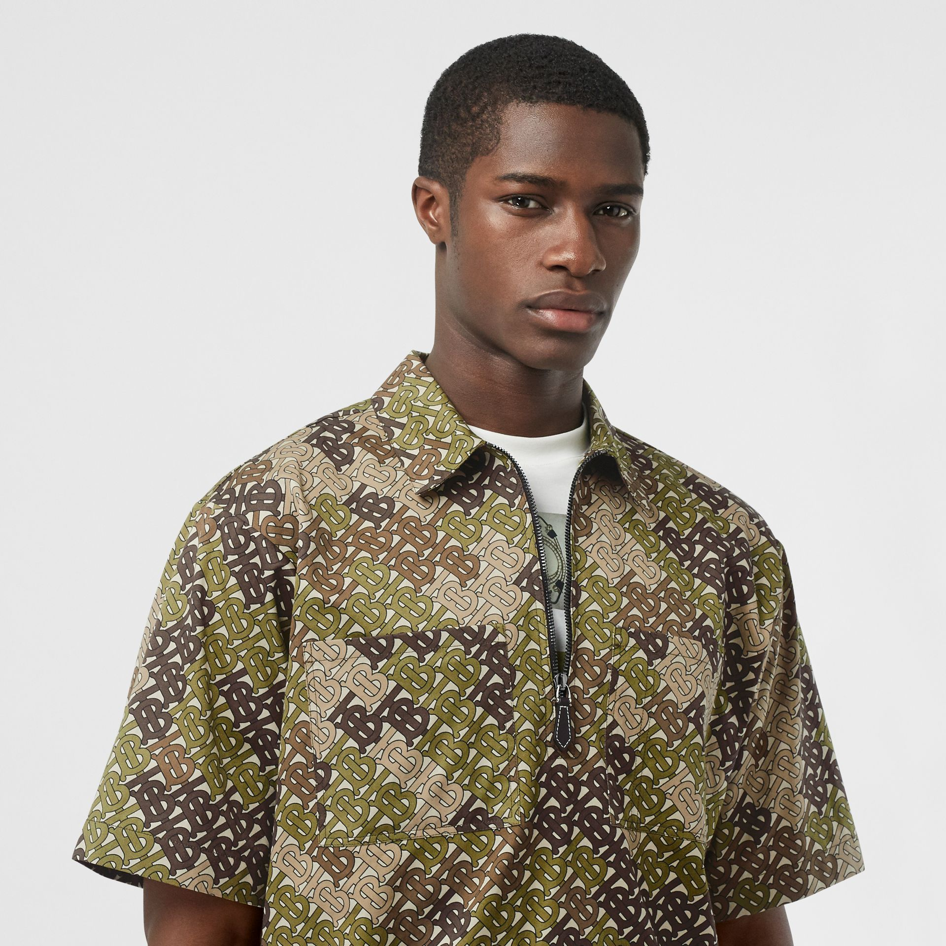 Short-sleeve Monogram Print Cotton Shirt in Khaki Green - Men | Burberry - gallery image 1